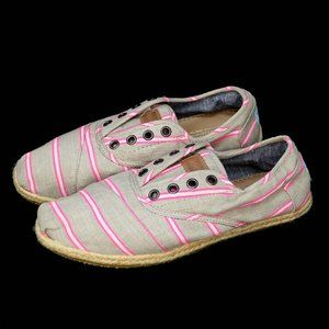 TOMS Striped Gray Khaki Pink Canvas Flats Loafers